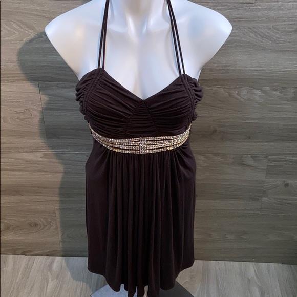 Sky knit dress with rhinestone detail